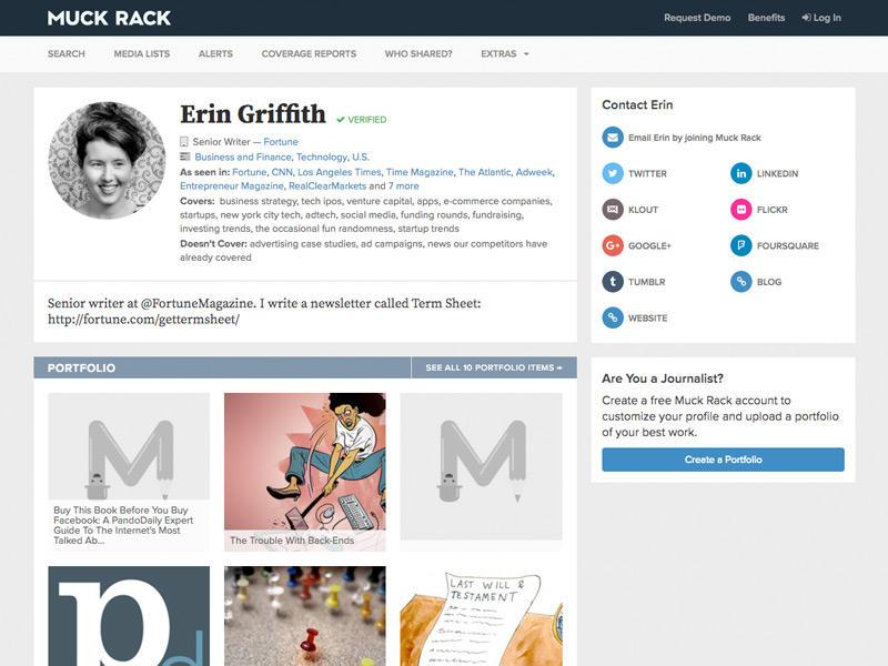 Muck Rack journalist profile