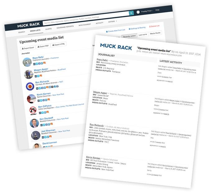 Muck Rack media lists