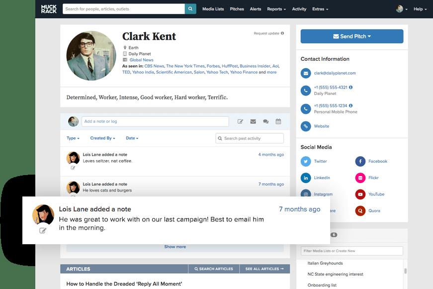 Muck Rack journalist profile recent activity
